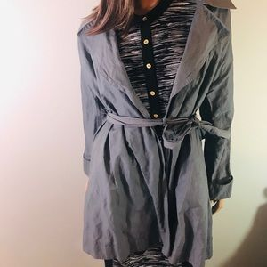 J JILL Crinkled Belted Wrap Trench Coat Small Gray
